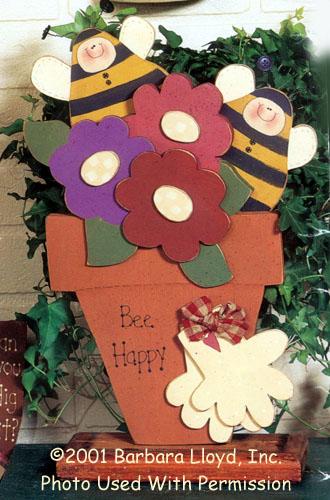 000892 (3) Bee Happy Flowerpots