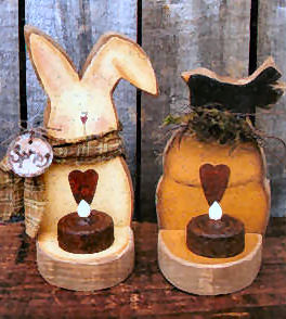 001196 (6) Tea Light Bunny and Hive Combo
