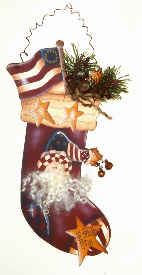 000209 (6) Americana Socks-oranments, christmas ornament, Karen Wisner, christmas