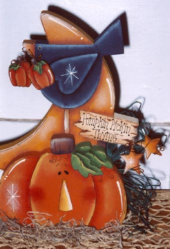 000272 (6) Pumpkin Pickin' Thyme-crow, pumpkin, wood crafts, wood parts, decorative painting, wood kits, wood blanks, crafts, Karen Wisner, tole painting, painting