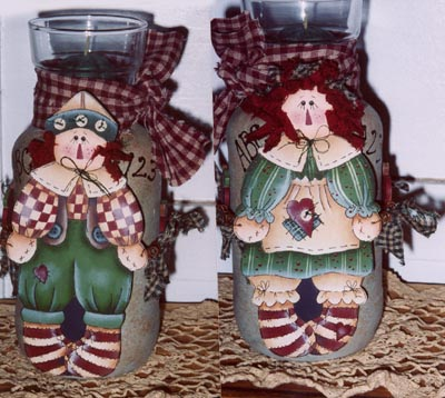 000275 (6) Raggedy Candle Jar Wraps