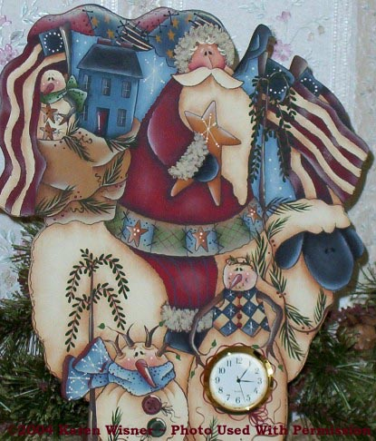 000471 (3) Santa Clocks-Santa clock, clock, country collectibles, homespun, sheep, saltbox house, snowmen
